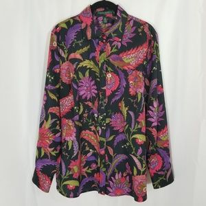 Ralph Lauren Button-front Floral Top